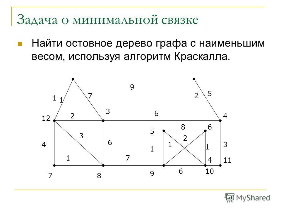 Задача о минимальной связке Найти остовное дерево графа с наименьшим весом, используя алгоритм Краскалла. 12 1 2 4 3 78 5 6 10 11 9 1 7 9 5 6 2 3 4 1 6 7 1 8 2 1 1 6 4 3