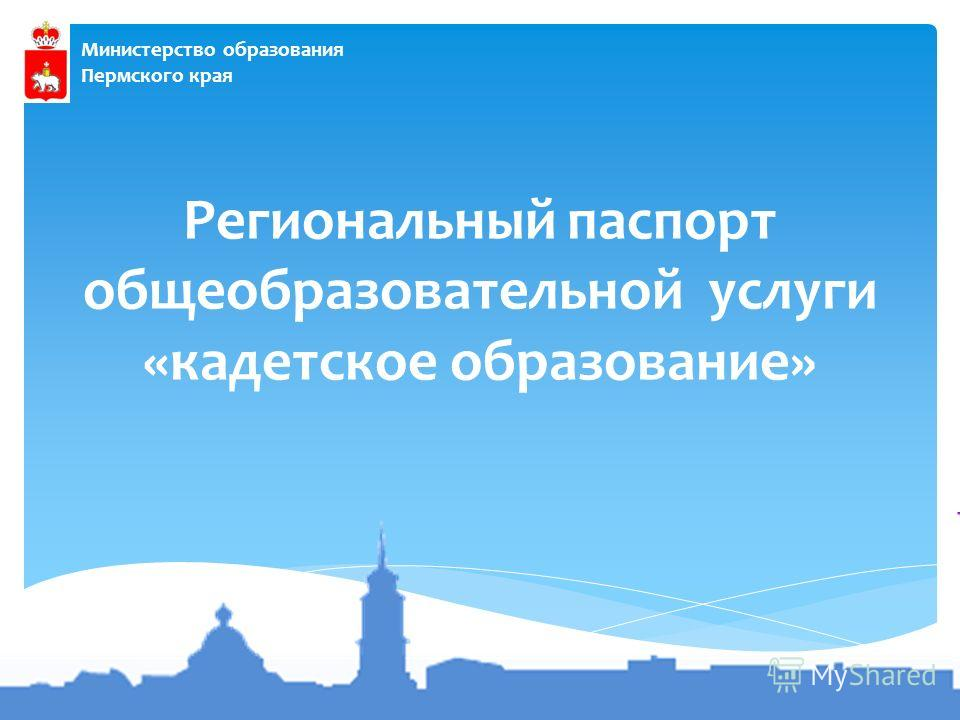 Министерство образования Пермского края Региональный паспорт общеобразовательной услуги «кадетское образование»