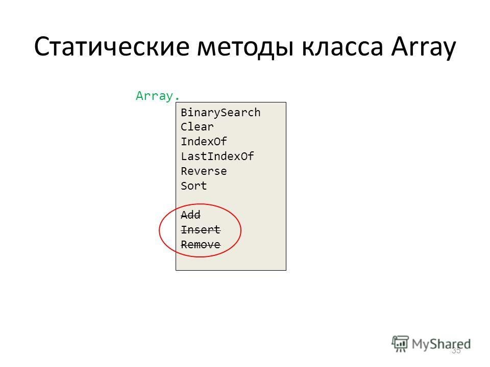 Статические методы класса Array 35 BinarySearch Clear IndexOf LastIndexOf Reverse Sort Add Insert Remove Array.