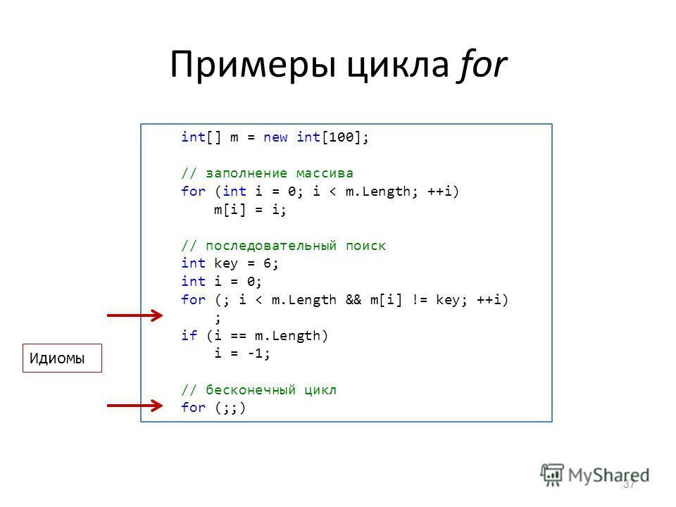 Примеры цикла for 37 int[] m = new int[100]; // заполнение массива for (int i = 0; i < m.Length; ++i) m[i] = i; // последовательный поиск int key = 6; int i = 0; for (; i < m.Length && m[i] != key; ++i) ; if (i == m.Length) i = -1; // бесконечный цик