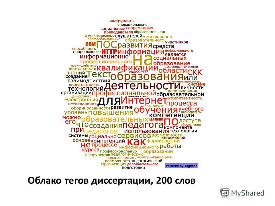 Облако тегов диссертации, 200 слов