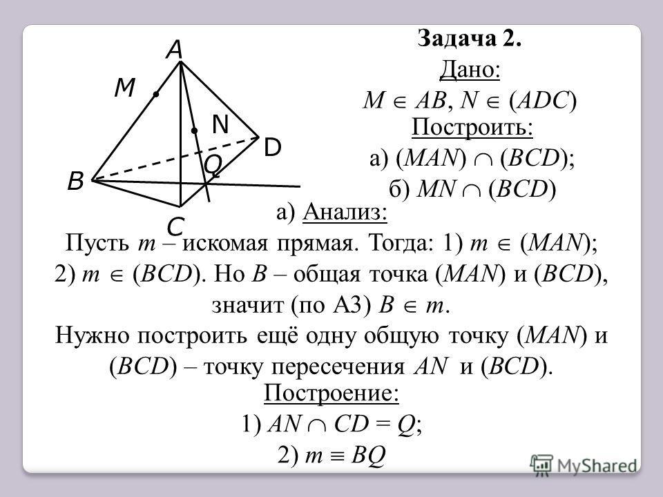 Задача 2. Дано: М АВ, N (АDС). N D С А В Q Построить: а) (MАN) (BCD); б) MN (BCD) а) Анализ: Пусть m – искомая прямая. Тогда: 1) m (MАN); 2) m (BCD). Но В – общая точка (MАN) и (BCD), значит (по А3) В m. Нужно построить ещё одну общую точку (MАN) и (
