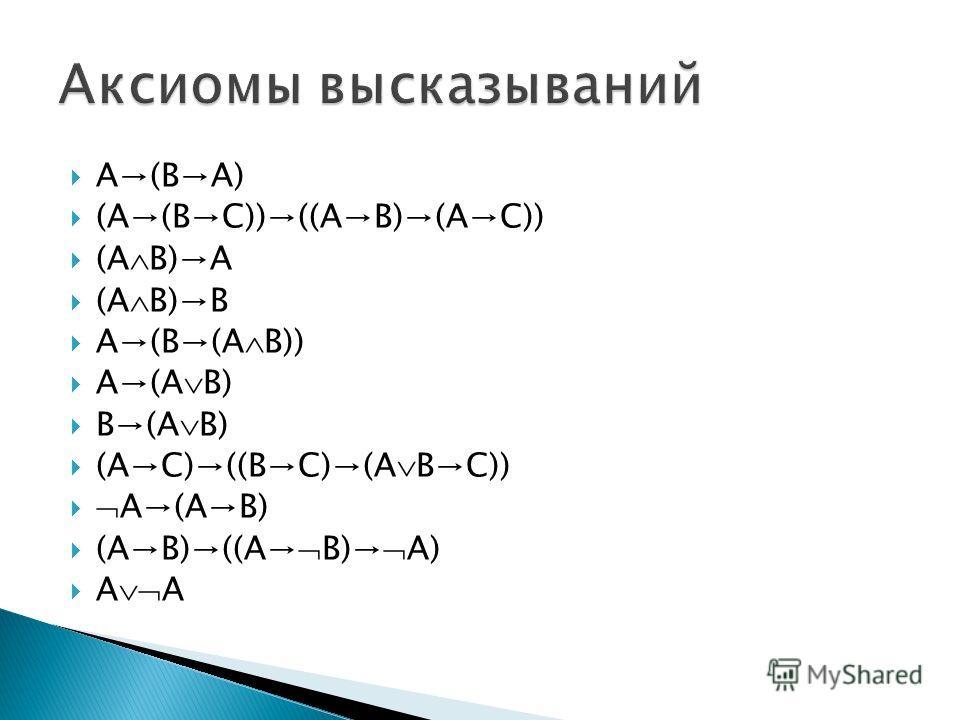 A(BA) (A(BC))((AB)(AC)) (A B)A (A B)B A(B(A B)) A(A B) B(A B) (AC)((BC)(A BC)) A(AB) (AB)((A B) A) A