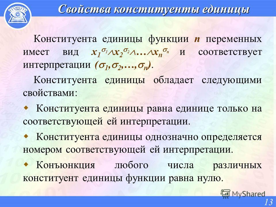 Свойства конституенты единицы Конституента единицы функции n переменных имеет вид x 1 1 x 2 2 … x n n и соответствует интерпретации ( 1, 2,…, n ). Конституента единицы обладает следующими свойствами: Конституента единицы равна единице только на соотв