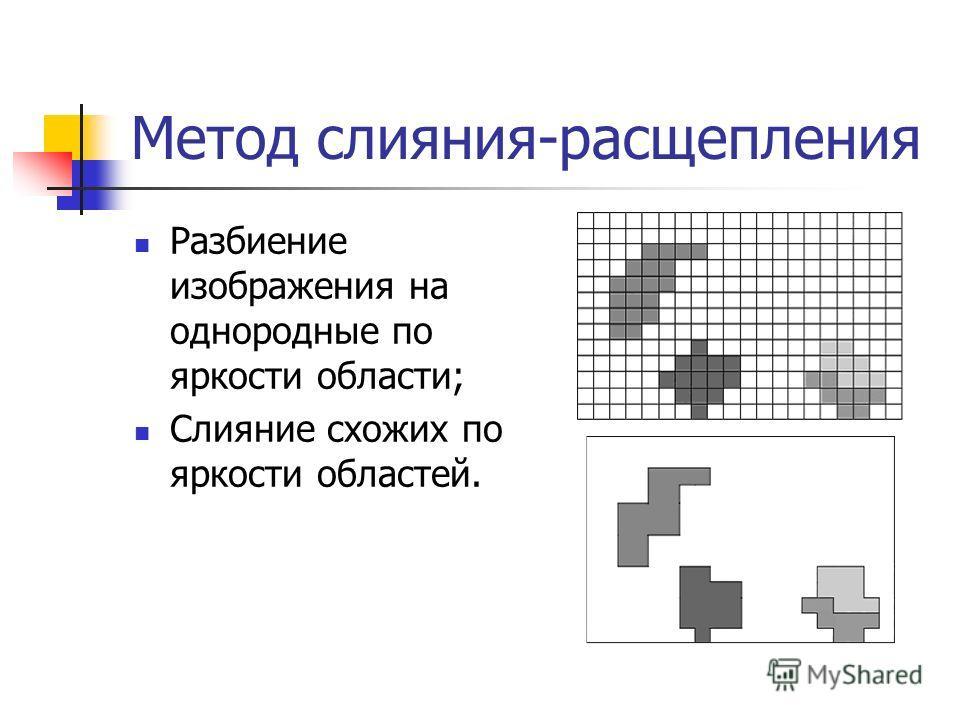 Метод слияния-расщепления Разбиение изображения на однородные по яркости области; Слияние схожих по яркости областей.