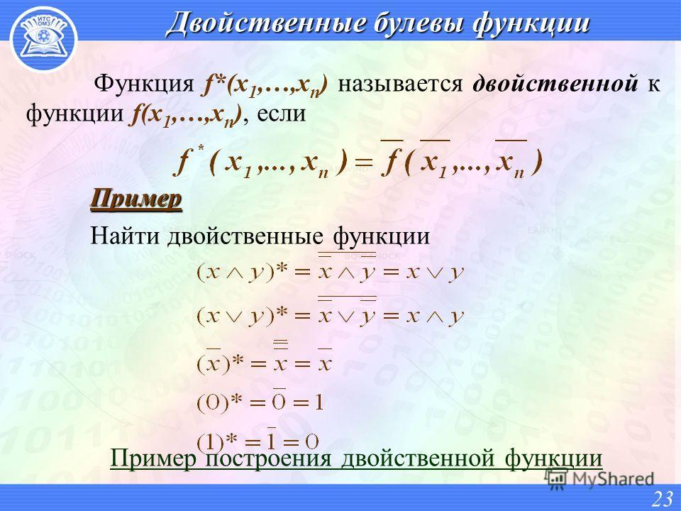 Двойственные булевы функции Функция f*(x 1,…,x n ) называется двойственной к функции f(x 1,…,x n ), если Пример построения двойственной функции 23 Пример Найти двойственные функции