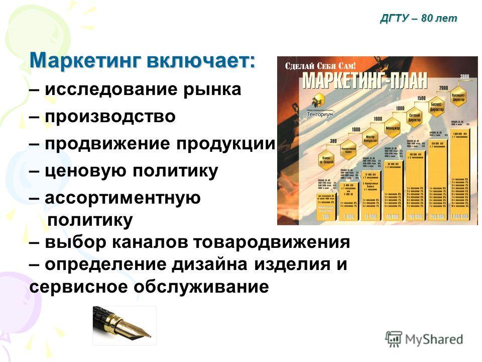 Маркетинг включает: – исследование рынка – производство – продвижение продукции – ценовую политику – ассортиментную политику – выбор каналов товародвижения – определение дизайна изделия и сервисное обслуживание ДГТУ – 80 лет