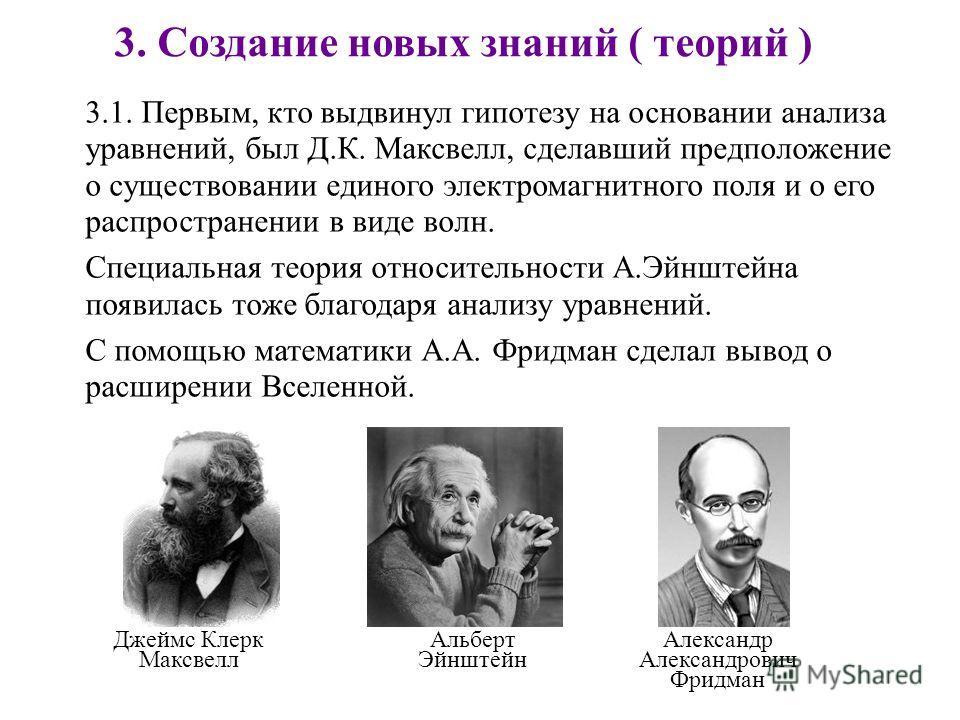 3. Создание новых знаний ( теорий ) 3.1. Первым, кто выдвинул гипотезу на основании анализа уравнений, был Д.К. Максвелл, сделавший предположение о существовании единого электромагнитного поля и о его распространении в виде волн. Специальная теория о