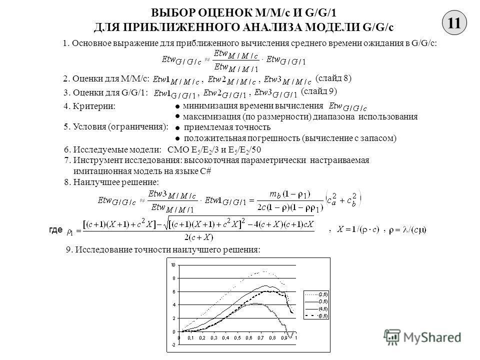 11 ВЫБОР ОЦЕНОК M/M/c И G/G/1 ДЛЯ ПРИБЛИЖЕННОГО АНАЛИЗА МОДЕЛИ G/G/c 1. Основное выражение для приближенного вычисления среднего времени ожидания в G/G/c: 2. Оценки для M/M/c:, (слайд 8), 3. Оценки для G/G/1: (слайд 9),, 4. Критерии: 8. Наилучшее реш