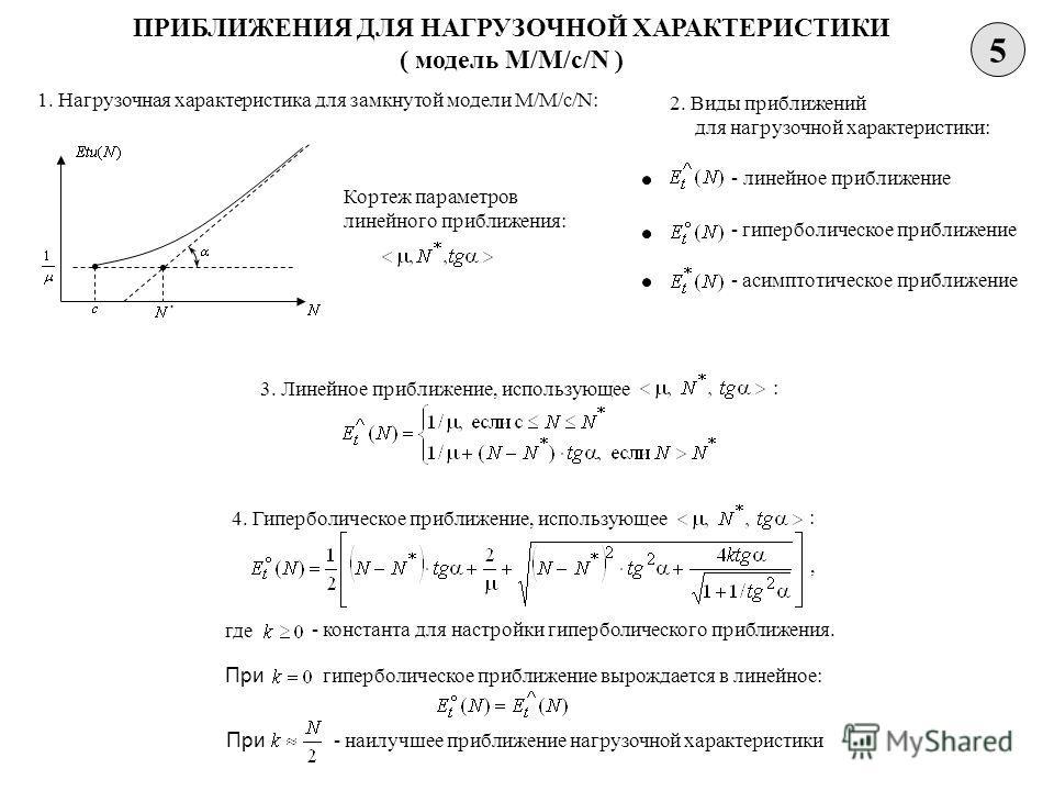 5 ПРИБЛИЖЕНИЯ ДЛЯ НАГРУЗОЧНОЙ ХАРАКТЕРИСТИКИ ( модель M/M/c/N ) 1. Нагрузочная характеристика для замкнутой модели M/M/c/N: Кортеж параметров линейного приближения: 2. Виды приближений для нагрузочной характеристики: - линейное приближение - гипербол