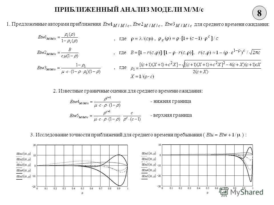 8 ПРИБЛИЖЕННЫЙ АНАЛИЗ МОДЕЛИ M/M/c 1. Предложенные авторами приближения,, для среднего времени ожидания:, где, 2. Известные граничные оценки для среднего времени ожидания: - нижняя граница - верхняя граница 3. Исследование точности приближений для ср