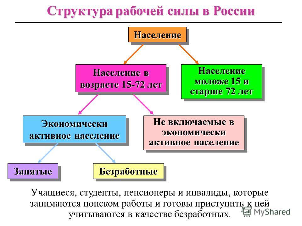 3 Структура рабочей силы Рабочая сила Рабочая сила включает людей, имеющих работу и зарегистриро- ванных как желающие работать и способные к труду. Таким образом, она состоит из занятых и взрослых безработных. Занятые Занятые - это люди, которые имею