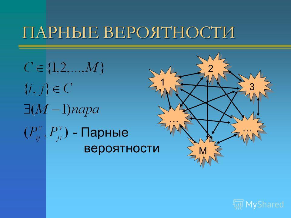 ПАРНЫЕ ВЕРОЯТНОСТИ - Парные вероятности 1 … 2 3 … М