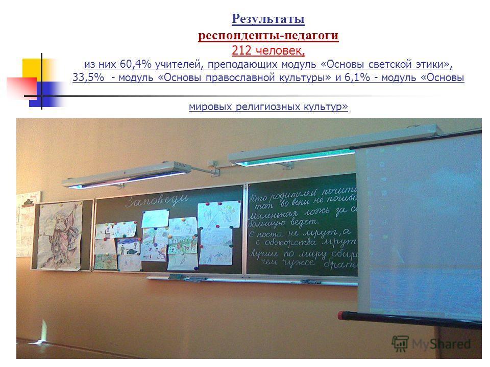 Результаты респонденты-педагоги 212 человек, из них 60,4% учителей, преподающих модуль «Основы светской этики», 33,5% - модуль «Основы православной культуры» и 6,1% - модуль «Основы мировых религиозных культур»