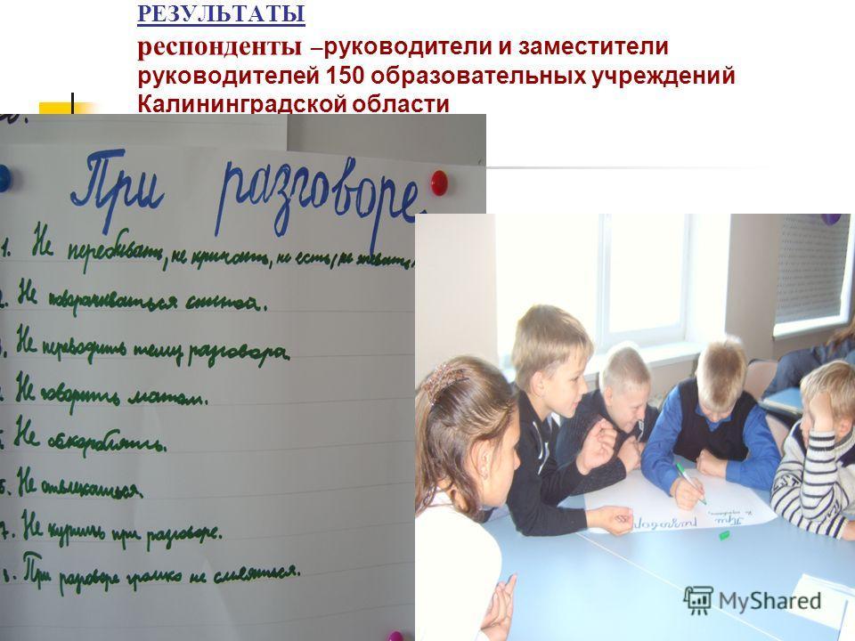 РЕЗУЛЬТАТЫ респонденты –руководители и заместители руководителей 150 образовательных учреждений Калининградской области
