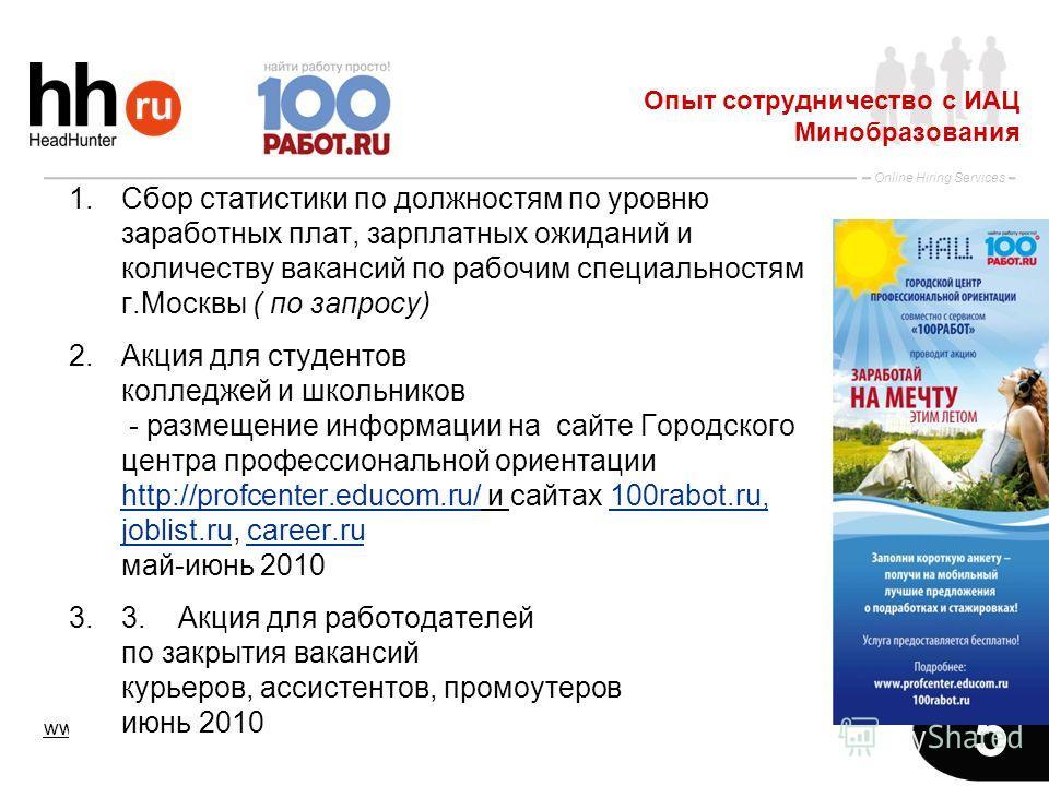 www.hh.ru Online Hiring Services 5 1.Сбор статистики по должностям по уровню заработных плат, зарплатных ожиданий и количеству вакансий по рабочим специальностям г.Москвы ( по запросу) 2.Акция для студентов колледжей и школьников - размещение информа