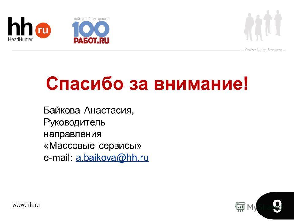 www.hh.ru Online Hiring Services 9 Спасибо за внимание! Байкова Анастасия, Руководитель направления «Массовые сервисы» е-mail: a.baikova@hh.rua.baikova@hh.ru