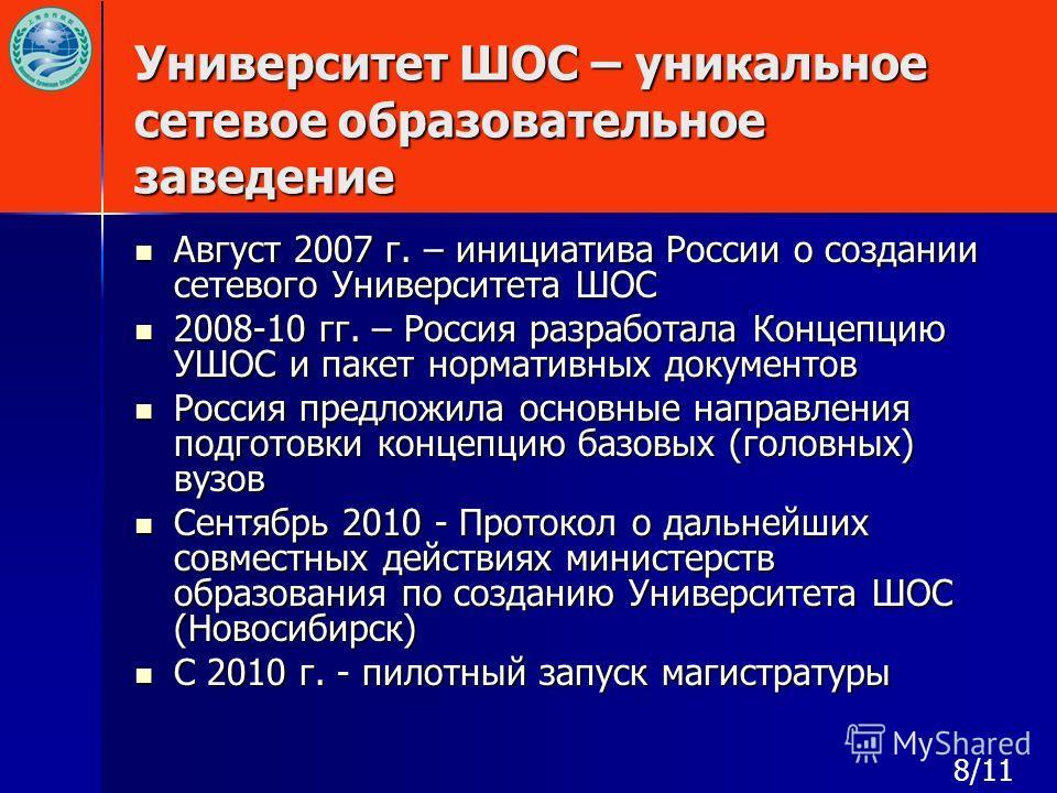 Университет ШОС – уникальное сетевое образовательное заведение Август 2007 г. – инициатива России о создании сетевого Университета ШОС Август 2007 г. – инициатива России о создании сетевого Университета ШОС 2008-10 гг. – Россия разработала Концепцию