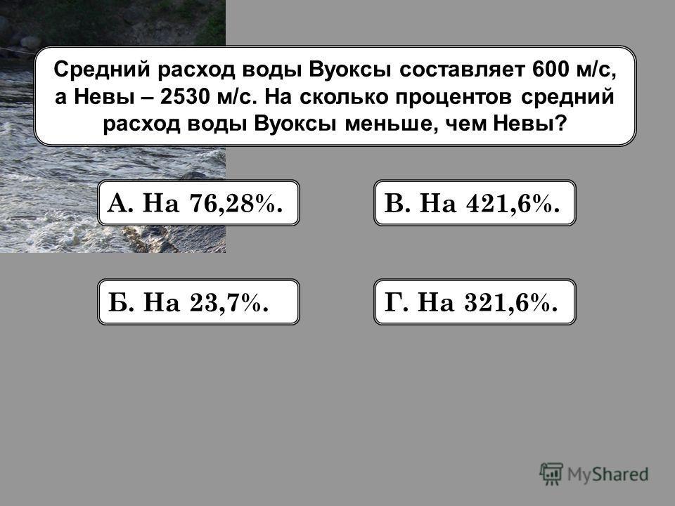Средний расход воды Вуоксы составляет 600 м/с, а Невы – 2530 м/с. На сколько процентов средний расход воды Вуоксы меньше, чем Невы? А. На 76,28%. Б. На 23,7%. В. На 421,6%. Г. На 321,6%.