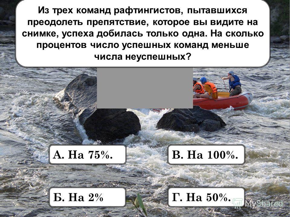 Из трех команд рафтингистов, пытавшихся преодолеть препятствие, которое вы видите на снимке, успеха добилась только одна. На сколько процентов число успешных команд меньше числа неуспешных? А. На 75%. Б. На 2% В. На 100%. Г. На 50%.