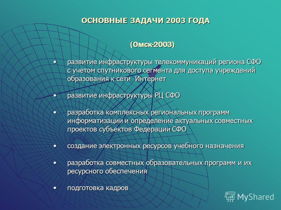 (Омск-2003) развитие инфраструктуры телекоммуникаций региона СФО с учетом спутникового сегмента для доступа учреждений образования к сети Интернетразвитие инфраструктуры телекоммуникаций региона СФО с учетом спутникового сегмента для доступа учрежден
