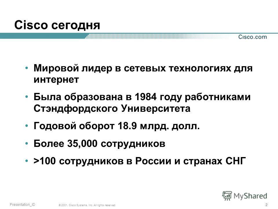 222 © 2001, Cisco Systems, Inc. All rights reserved. Presentation_ID Cisco сегодня Мировой лидер в сетевых технологиях для интернет Была образована в 1984 году работниками Стэндфордского Университета Годовой оборот 18.9 млрд. долл. Более 35,000 сотру