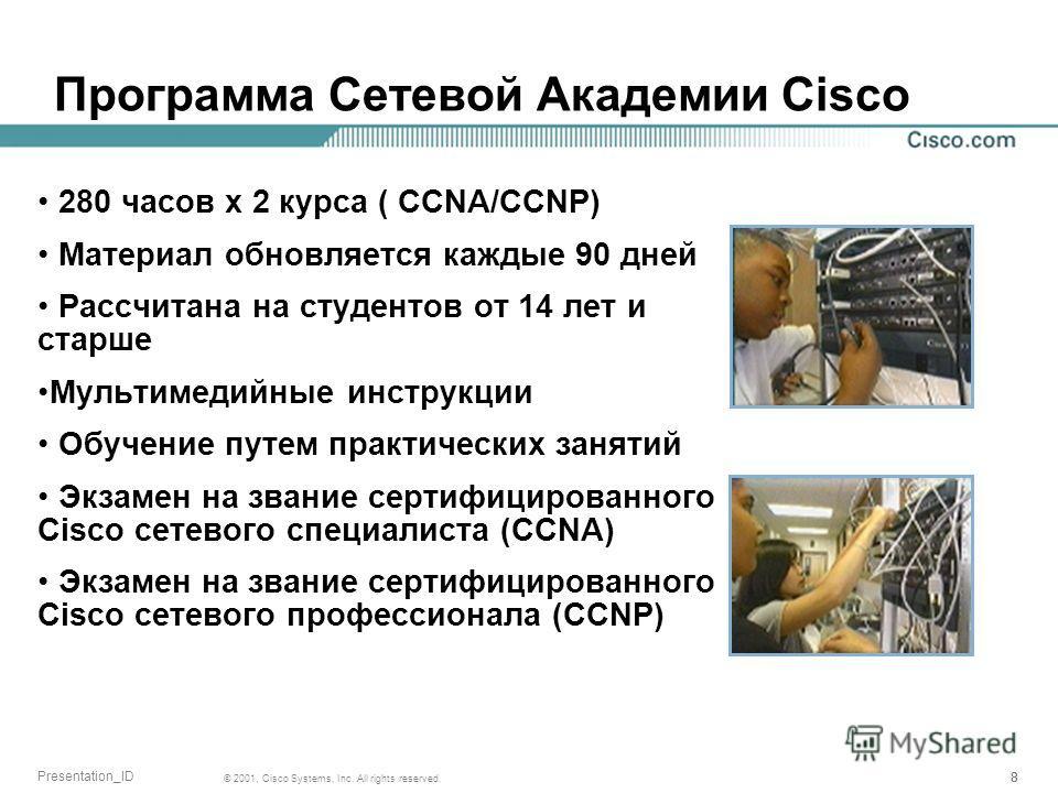 888 © 2001, Cisco Systems, Inc. All rights reserved. Presentation_ID Программа Сетевой Академии Cisco 280 часов x 2 курса ( CCNA/CCNP) Материал обновляется каждые 90 дней Рассчитана на студентов от 14 лет и старше Мультимедийные инструкции Обучение п