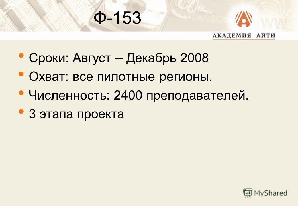 Ф-153 Сроки: Август – Декабрь 2008 Охват: все пилотные регионы. Численность: 2400 преподавателей. 3 этапа проекта