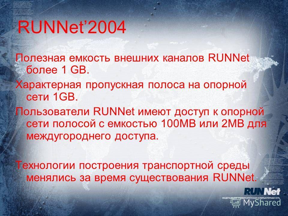 RUNNet2004 Полезная емкость внешних каналов RUNNet более 1 GB. Характерная пропускная полоса на опорной сети 1GB. Пользователи RUNNet имеют доступ к опорной сети полосой с емкостью 100MB или 2MB для междугороднего доступа. Технологии построения транс