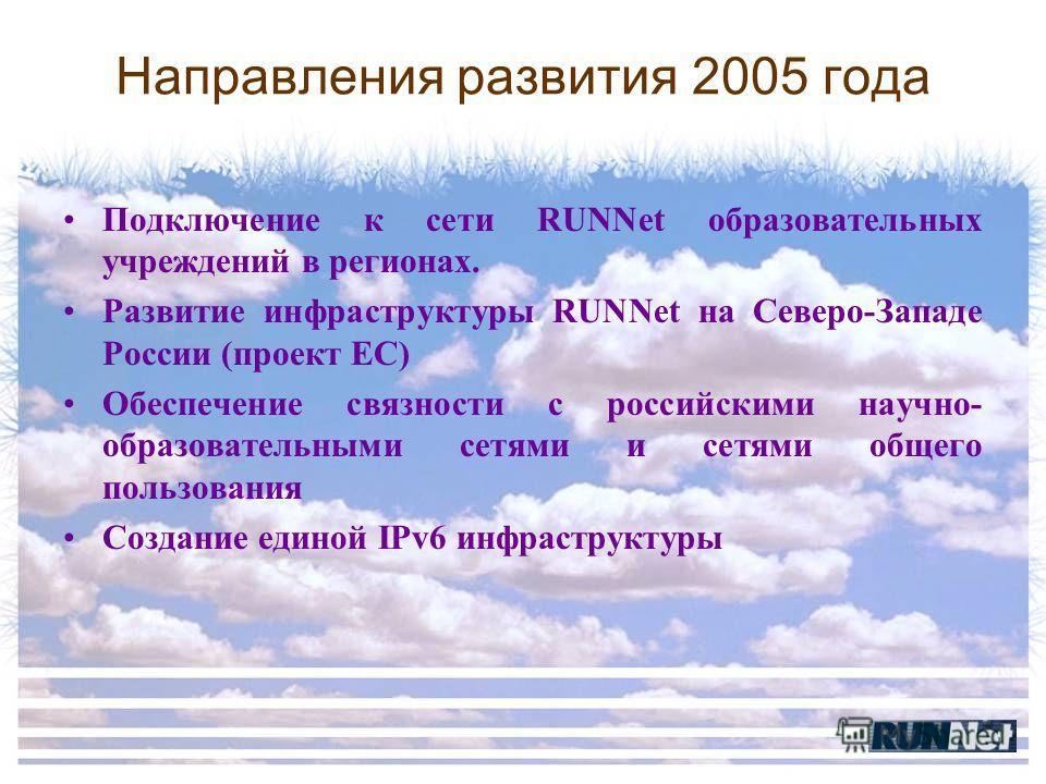 Направления развития 2005 года Подключение к сети RUNNet образовательных учреждений в регионах. Развитие инфраструктуры RUNNet на Северо-Западе России (проект ЕС) Обеспечение связности с российскими научно- образовательными сетями и сетями общего пол