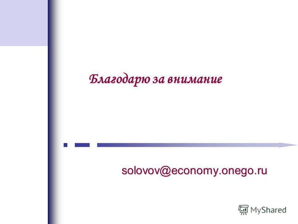 Благодарю за внимание solovov@economy.onego.ru