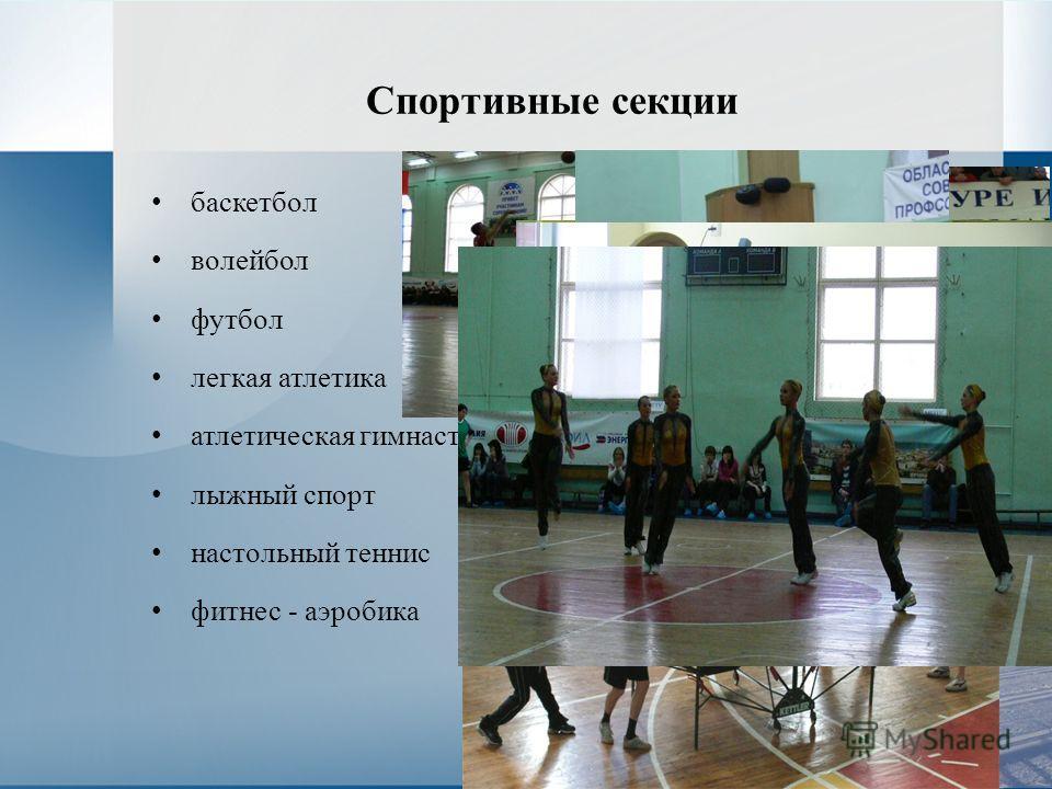 Спортивные секции баскетбол волейбол футбол легкая атлетика атлетическая гимнастика лыжный спорт настольный теннис фитнес - аэробика