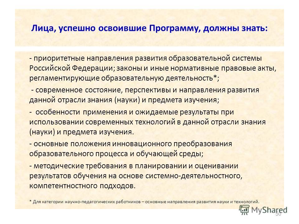 Лица, успешно освоившие Программу, должны знать: - приоритетные направления развития образовательной системы Российской Федерации; законы и иные нормативные правовые акты, регламентирующие образовательную деятельность*; - современное состояние, персп