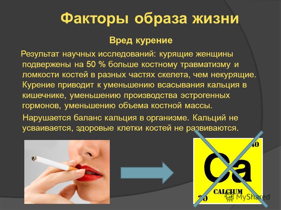 Факторы образа жизни Вред курение Результат научных исследований: курящие женщины подвержены на 50 % больше костному травматизму и ломкости костей в разных частях скелета, чем некурящие. Курение приводит к уменьшению всасывания кальция в кишечнике, у