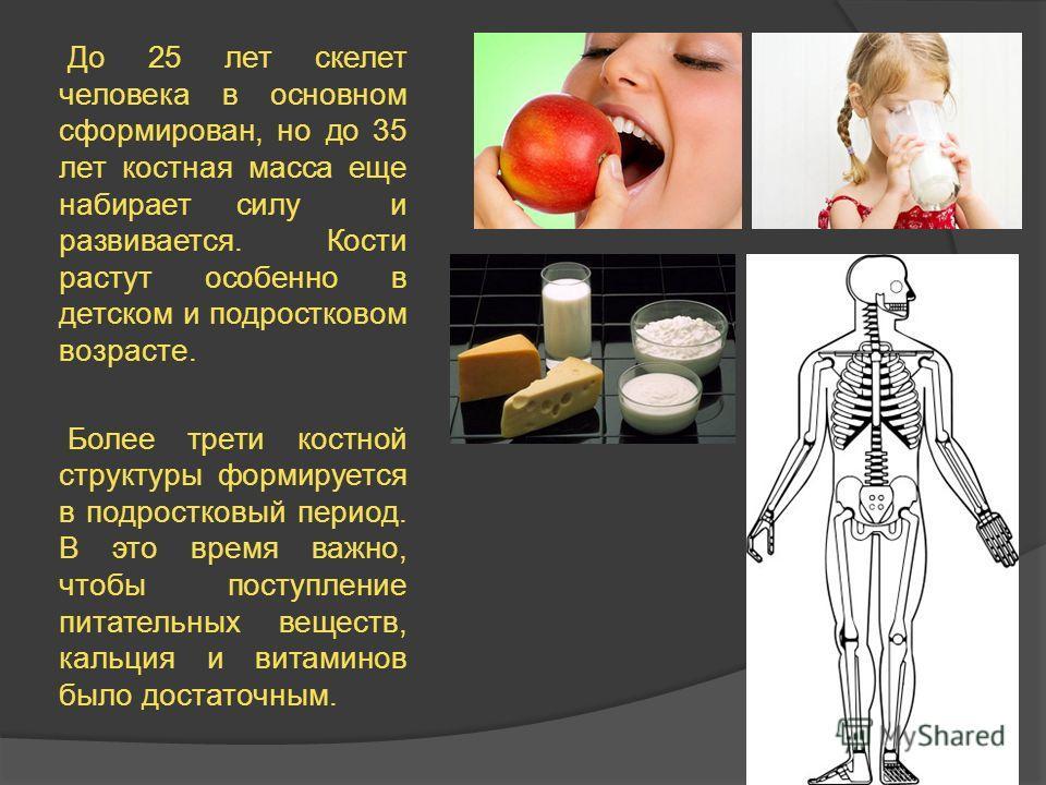 До 25 лет скелет человека в основном сформирован, но до 35 лет костная масса еще набирает силу и развивается. Кости растут особенно в детском и подростковом возрасте. Более трети костной структуры формируется в подростковый период. В это время важно,