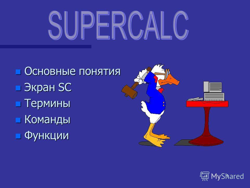 1 n Основные понятия n Экран SC n Термины n Команды n Функции