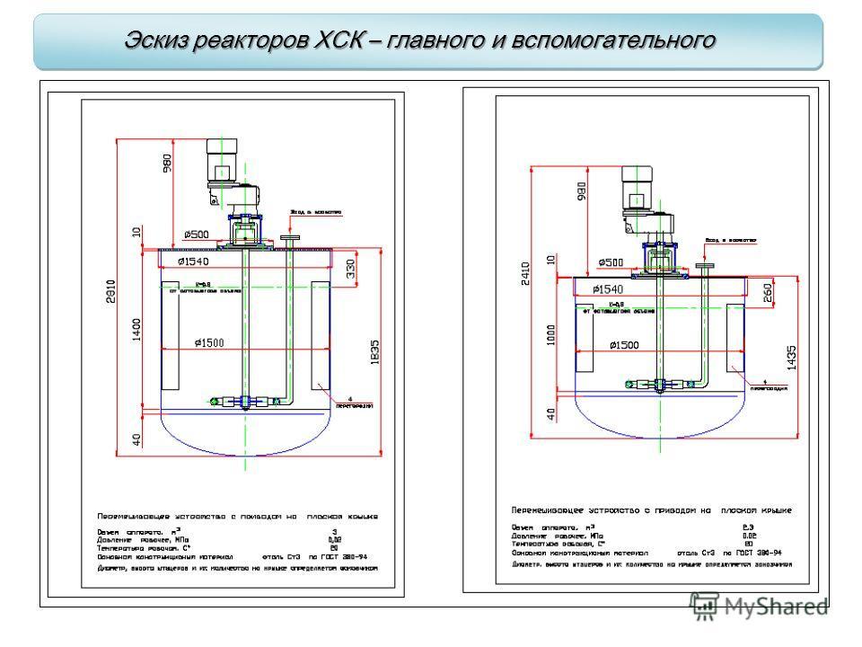 Эскиз реакторов ХСК – главного и вспомогательного