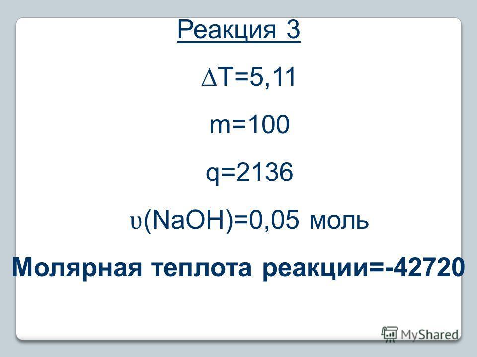 Реакция 3 T=5,11 m=100 q=2136 ʋ (NaOH)=0,05 моль Молярная теплота реакции=-42720