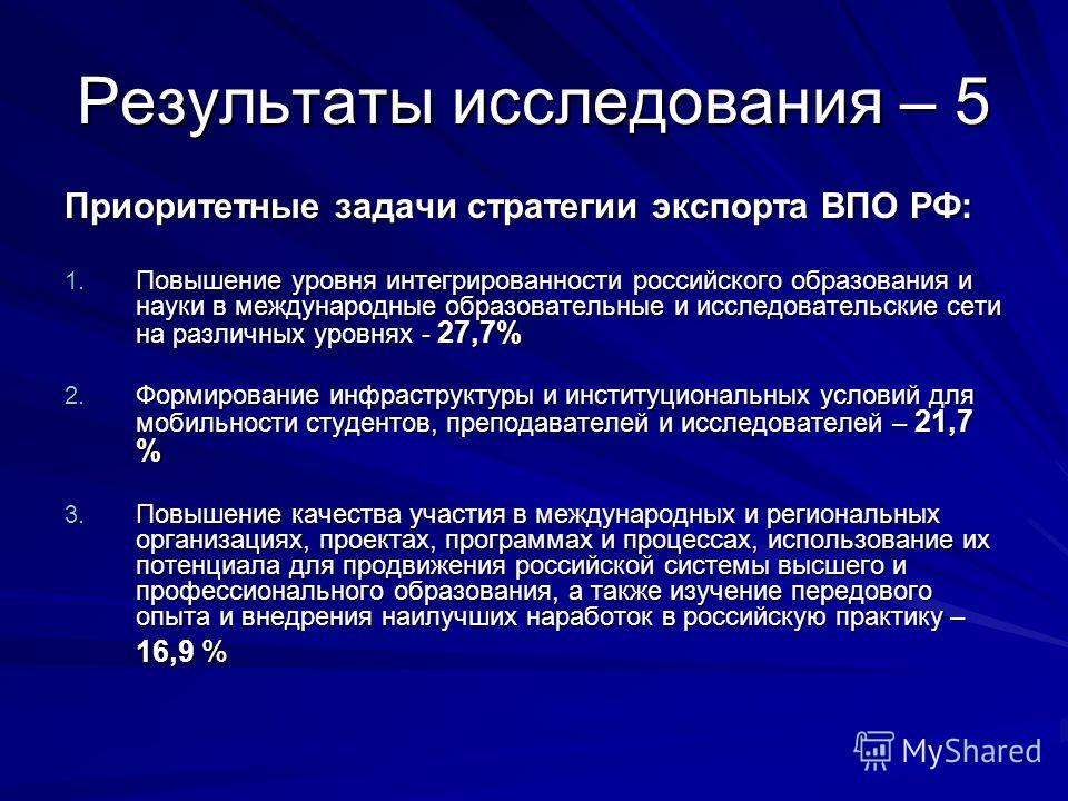 Результаты исследования – 5 Приоритетные задачи стратегии экспорта ВПО РФ: 1. Повышение уровня интегрированности российского образования и науки в международные образовательные и исследовательские сети на различных уровнях - 27,7% 2. Формирование инф