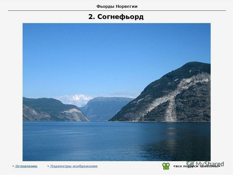 Фьорды Норвегии 2. Согнефьорд Оглавление Оглавление Параметры изображения