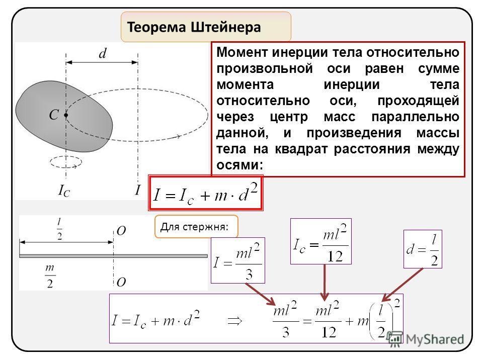 Теорема Штейнера Момент инерции тела относительно произвольной оси равен сумме момента инерции тела относительно оси, проходящей через центр масс параллельно данной, и произведения массы тела на квадрат расстояния между осями: Для стержня: