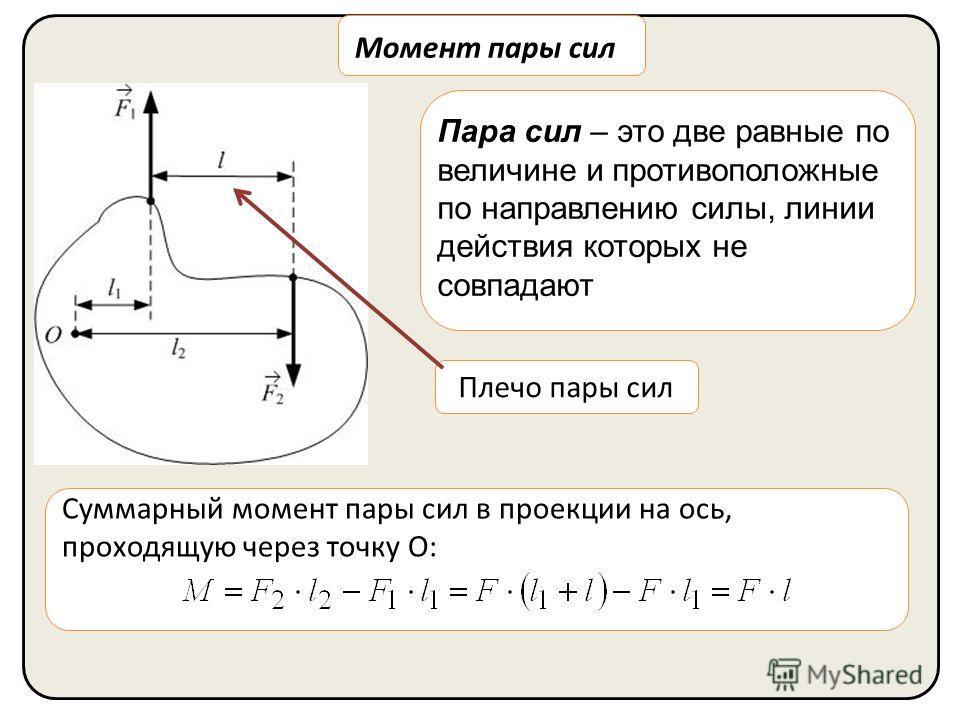 Момент пары сил Пара сил – это две равные по величине и противоположные по направлению силы, линии действия которых не совпадают Плечо пары сил Суммарный момент пары сил в проекции на ось, проходящую через точку О: