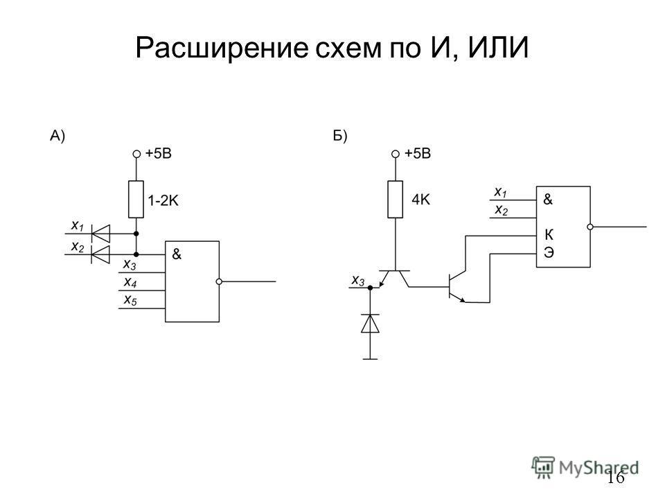 Расширение схем по И, ИЛИ 16
