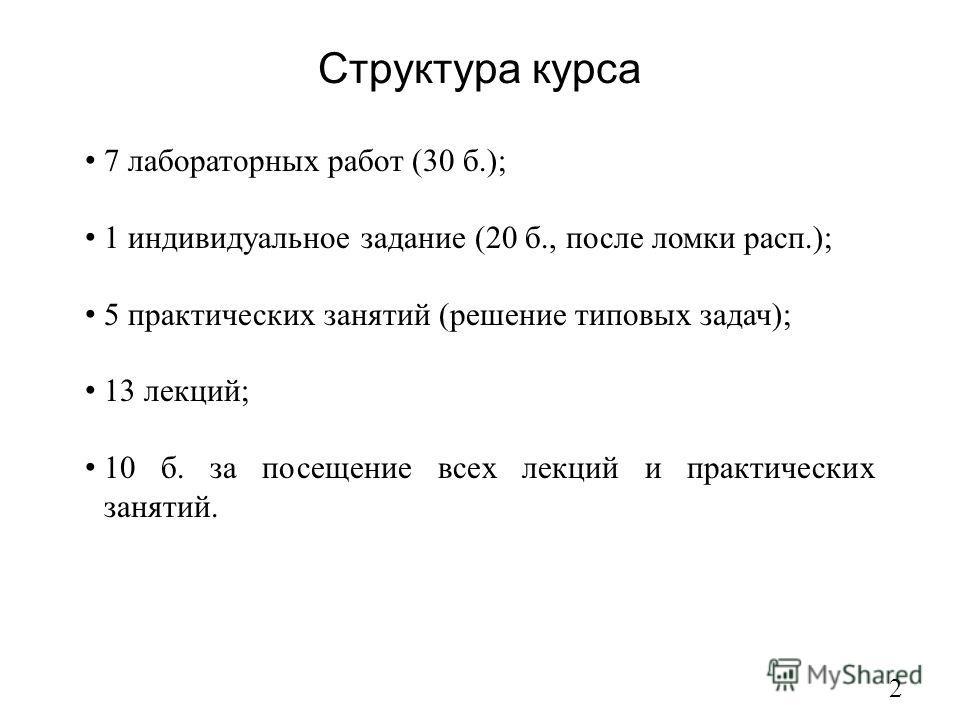 Структура курса 2 7 лабораторных работ (30 б.); 1 индивидуальное задание (20 б., после ломки расп.); 5 практических занятий (решение типовых задач); 13 лекций; 10 б. за посещение всех лекций и практических занятий.