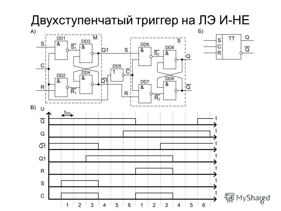 Двухступенчатый триггер на ЛЭ И-НЕ 6