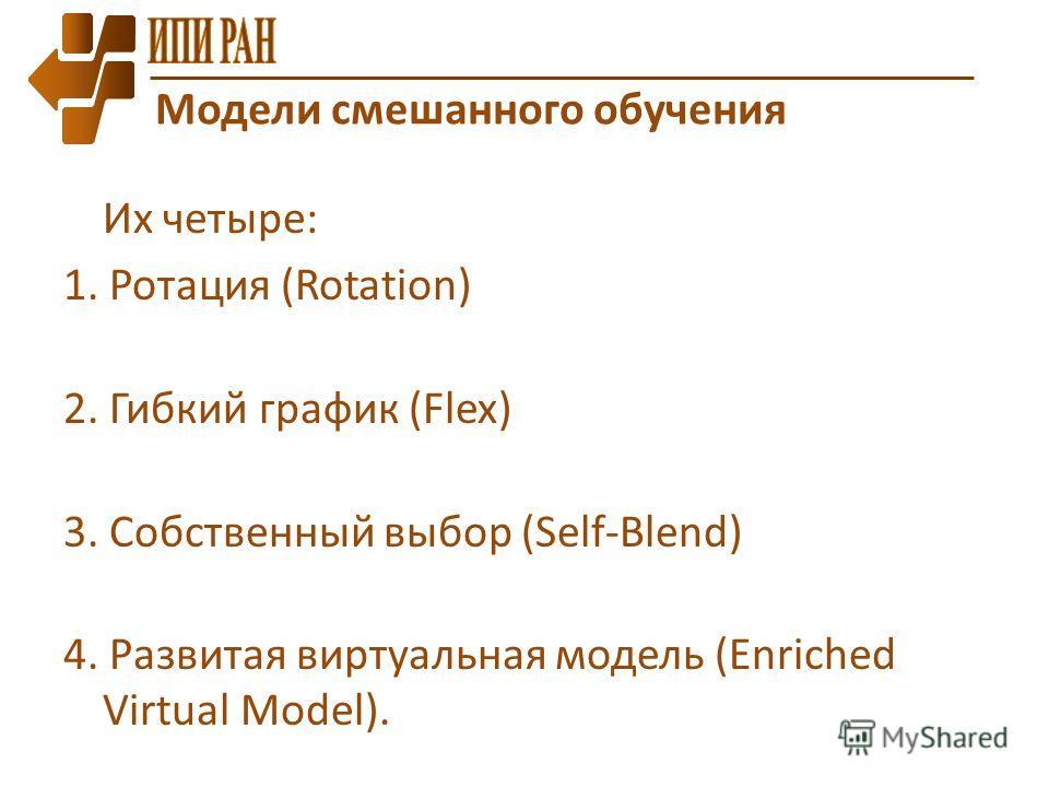 Их четыре: 1. Ротация (Rotation) 2. Гибкий график (Flex) 3. Собственный выбор (Self-Blend) 4. Развитая виртуальная модель (Enriched Virtual Model). Модели смешанного обучения
