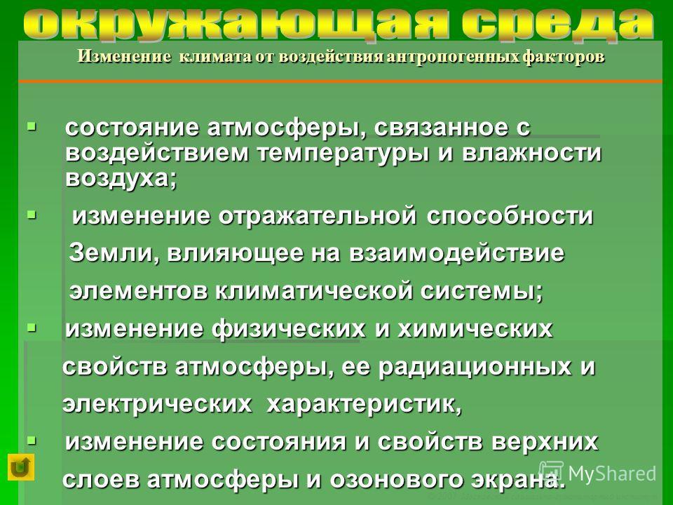 © 2007 Московский социально-гуманитарный институт состояние атмосферы, связанное с воздействием температуры и влажности воздуха; состояние атмосферы, связанное с воздействием температуры и влажности воздуха; изменение отражательной способности измене