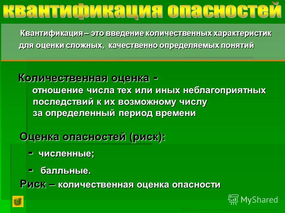© 2007 Московский социально-гуманитарный институт Квантификация – это введение количественных характеристик Квантификация – это введение количественных характеристик для оценки сложных, качественно определяемых понятий для оценки сложных, качественно