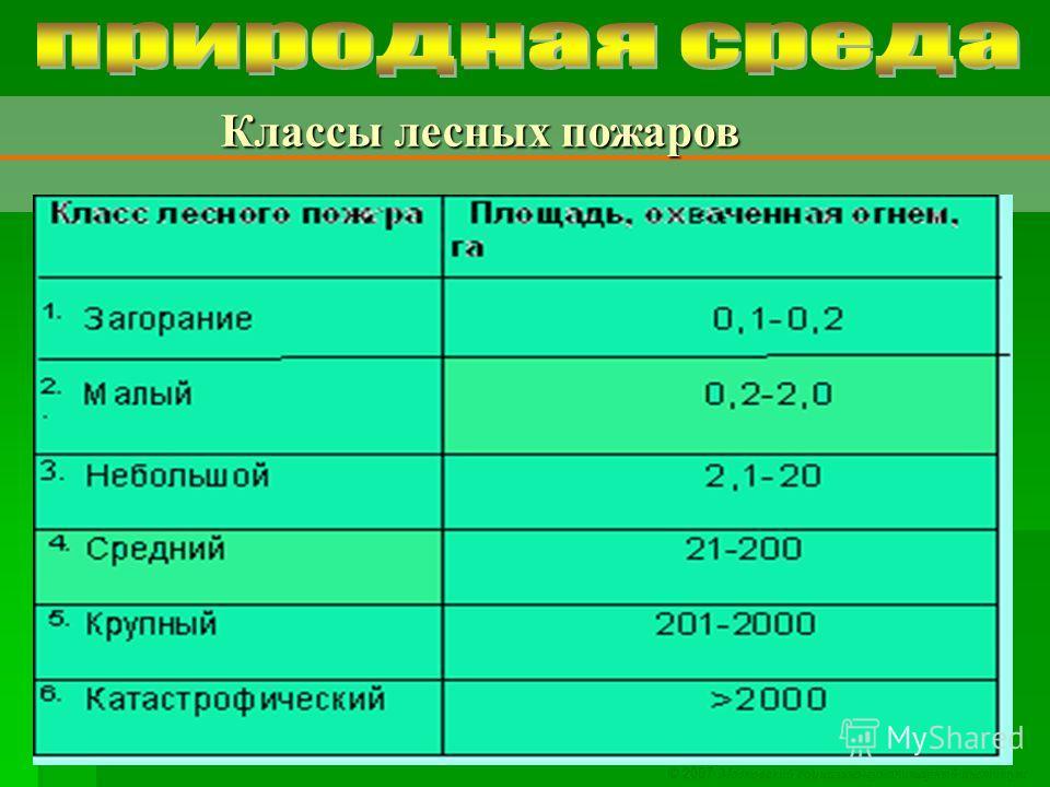 © 2007 Московский социально-гуманитарный институт Классы лесных пожаров Классы лесных пожаров
