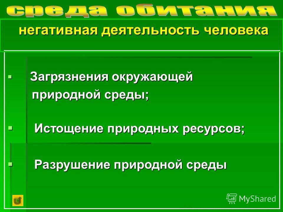 © 2007 Московский социально-гуманитарный институт Загрязнения окружающей Загрязнения окружающей природной среды; природной среды; Истощение природных ресурсов; Истощение природных ресурсов; Разрушение природной среды Разрушение природной среды негати